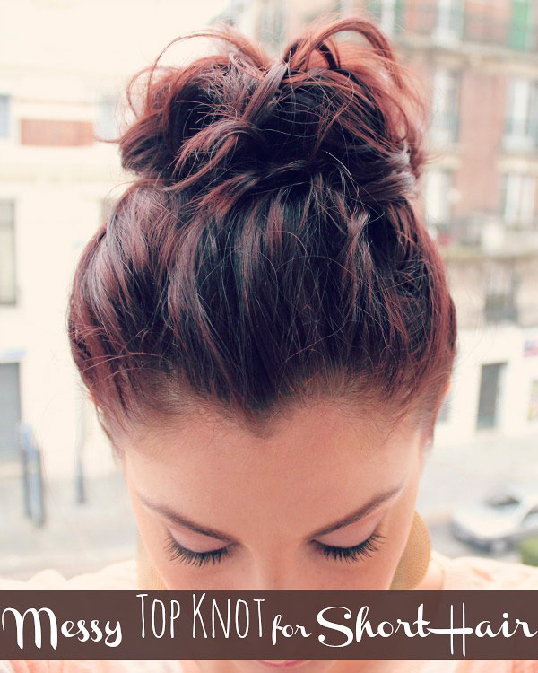 Messy-Top-Knot-for-Short-Hair