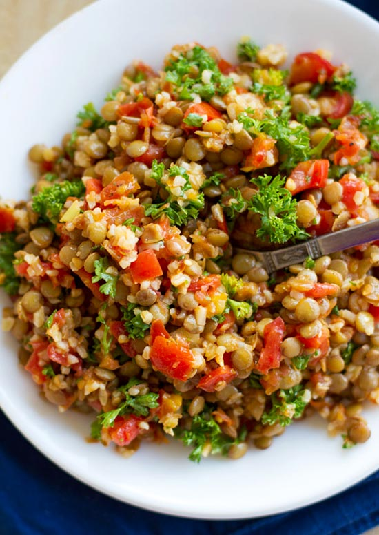 garlic-tomato-lentil-salad