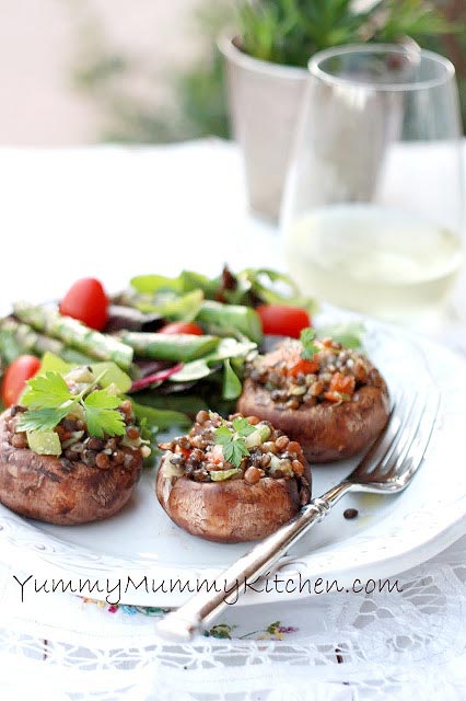 lentil-stuffed-mushrooms